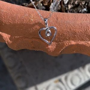 Diamond in 10K White Gold Heart Necklace